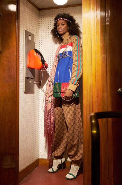 Gucci Pre-Fall 2018 GG monogram track jacket and pants as seen on Rihanna