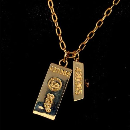 Lynn Ban gold bar pendant necklace as seen on Rihanna