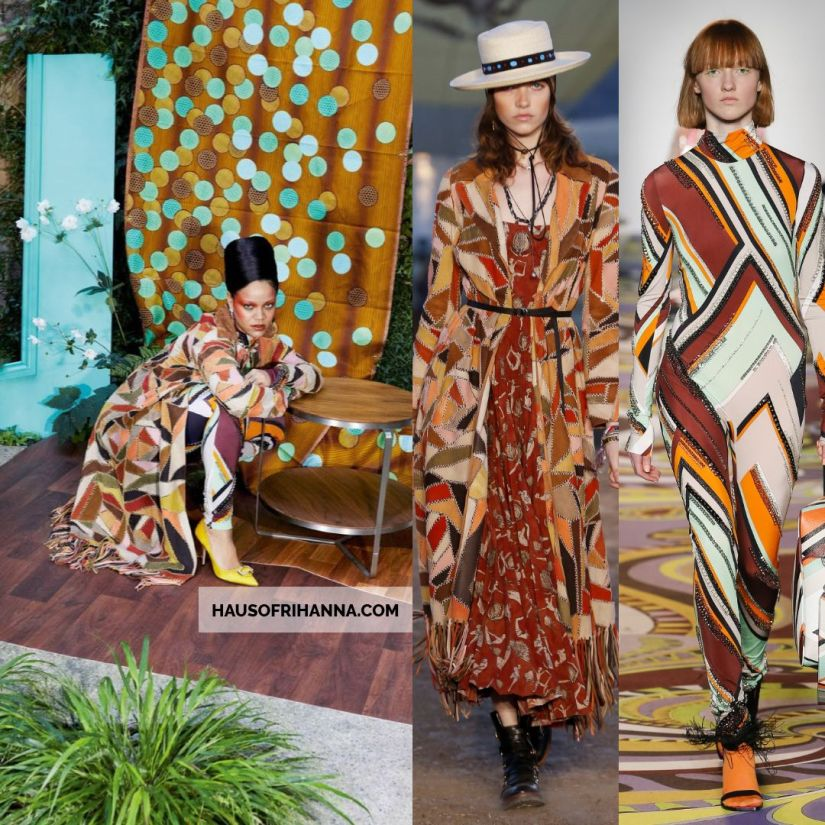 Rihanna Vogue Paris December 2017 Dior leather patchwork coat, Pucci crystal embellished jumpsuit