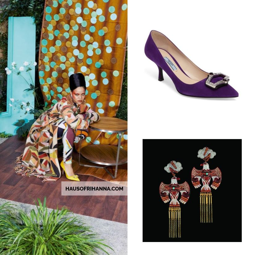 Rihanna Vogue Paris December 2017 Prada crystal brooch pumps, Lydia Courteille Thunderbird earrings