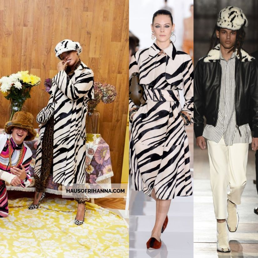 Rihanna Vogue Paris December 2017 Roberto Cavalli zebra print trench coat, Wales Bonner fur cap