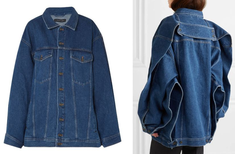 Y/Project denim oversized jacket as seen on Rihanna