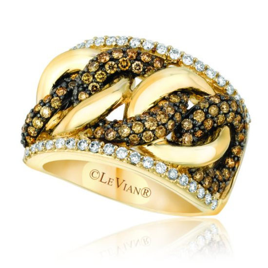 Le Vian honey gold chocolate and white diamond ring as seen on Rihanna