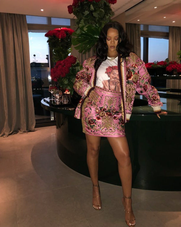 Rihanna On Instagram In Pink Dolce & Gabbana Outfit
