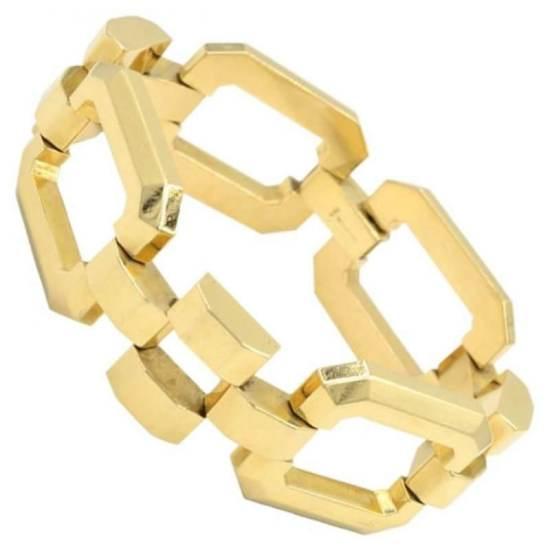 Tiffany 14k yellow gold retro link bracelet as seen on Rihanna