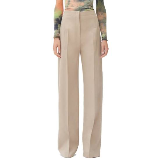 Celine high waisted khaki beige trousers as seen on Rihanna