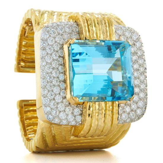 David Webb gold, diamond and gemstone Couture cuff bracelet as seen on Rihanna