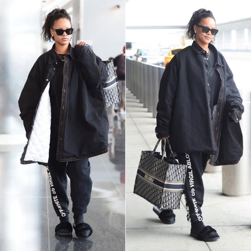 Rihanna custom dior monogram tote new york, Raf Simons denim shirt jacket, Off-White black logo sweatpants and Warby Parker sunglasses, ISM New York baby sweatshirt, Fenty x Puma black fur slides, Jennifer Fisher custom savagex pendant necklace