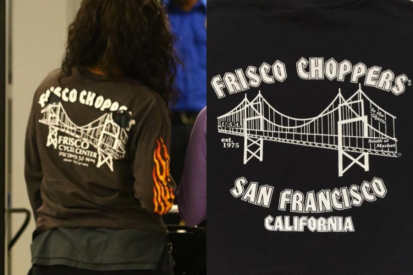 Rihanna vintage Frisco Choppers t-shirt vs recreation