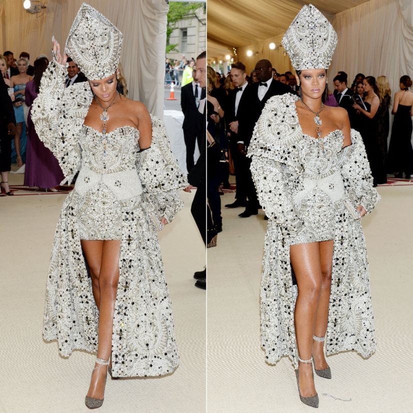 Rihanna Met Gala 2018 Maison Margiela John Galliano dress, Stephen Jones Millinery hat, Christian Louboutin pumps, Judith Leiber clutch, Cartier necklace