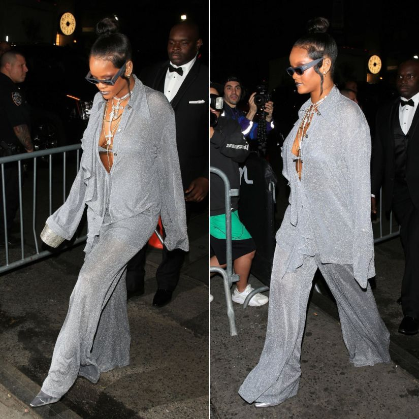 Rihanna Met Gala after-party 2018 Nina Ricci fall 2018 top and pants, Dorateymur shoes, Judith Leiber crystal bucket bag, Crap Eyewear The Paradise Machine sunglasses, Rafaello and Co necklaces, XIV Karats rosaries, Konstantino Flamenco Gold earrings, Maria Tash scalloped earring