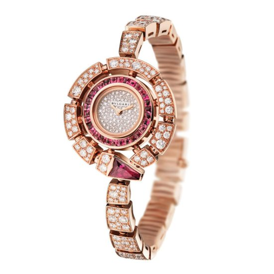 Bulgari Serpenti Incantati diamond and rubellite watch as seen on Rihanna