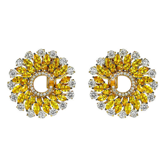 Jacob and Co Infinia yellow sapphire and diamond earrings as seen on Rihanna