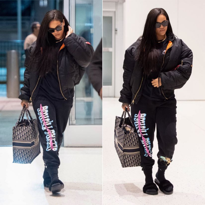 Rihanna Off-White seeing things black sweatpants, Vetements x Alpha Industries black bomber jacket, Alliance London black logo t-shirt, Fenty x Puma black fur slides, Dior book tote