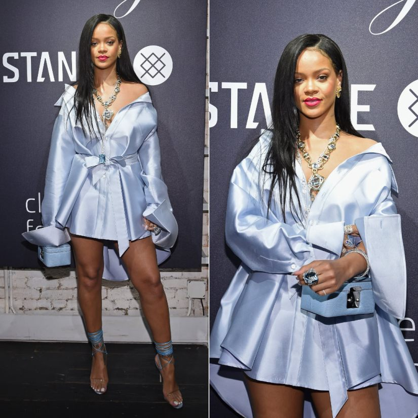 Rihanna Matthew Adams Dolan blue dress Stance Clara Lionel Foundation event in New York, Manolo Blahnik ankle wrap sandals, Stalvey mint blue beauty case, Chopard aquamarine ring, David Webb aquamarine and diamond necklace, Jacob and Co Infinia yellow earrings, Spallanzani aquamarine and diamond ring, Fenty Beauty Candy Venom Mattemoiselle matte lipstick