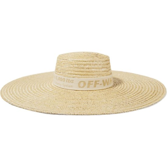 Off-White straw hat as seen on Rihanna