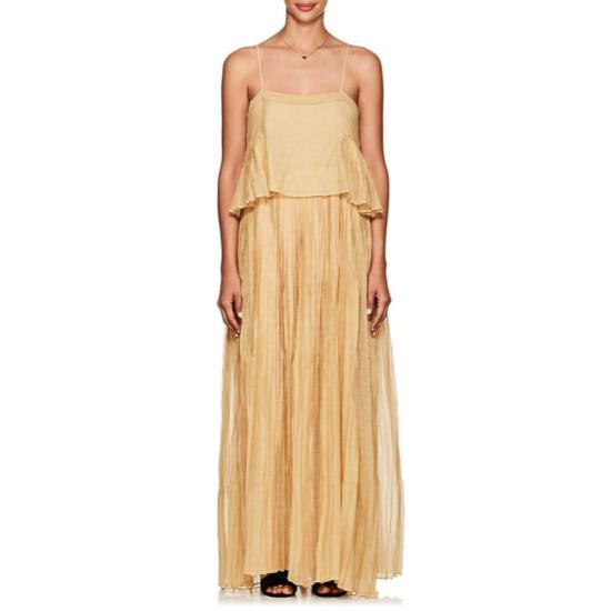 Thierry Colson Salome gold cotton-silk maxi dress as seen on Rihanna