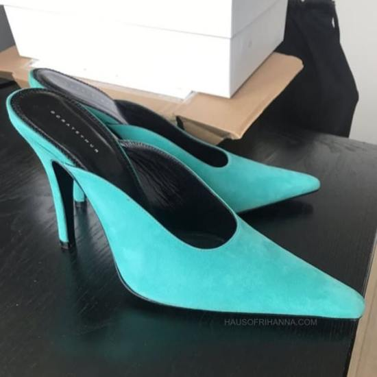 Dorateymur Groupie mules blue suede as seen on Rihanna