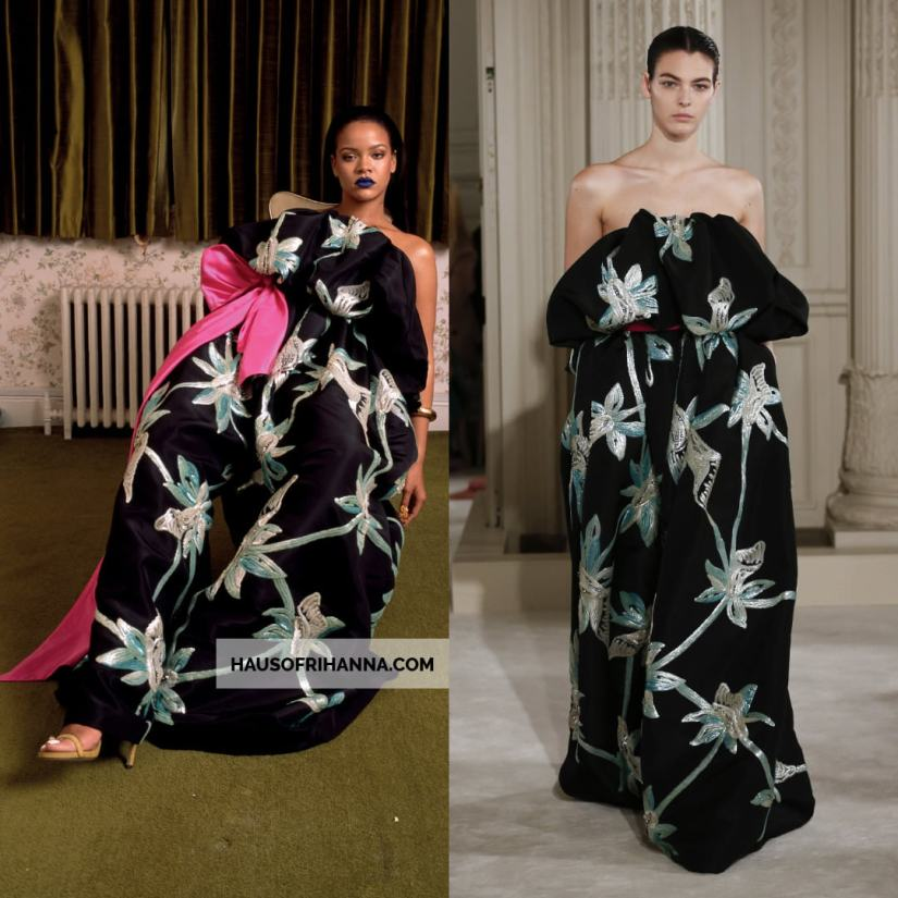 Rihanna Garage Magazine September 2018 Valentino Spring 2018 couture black floral jumpsuit
