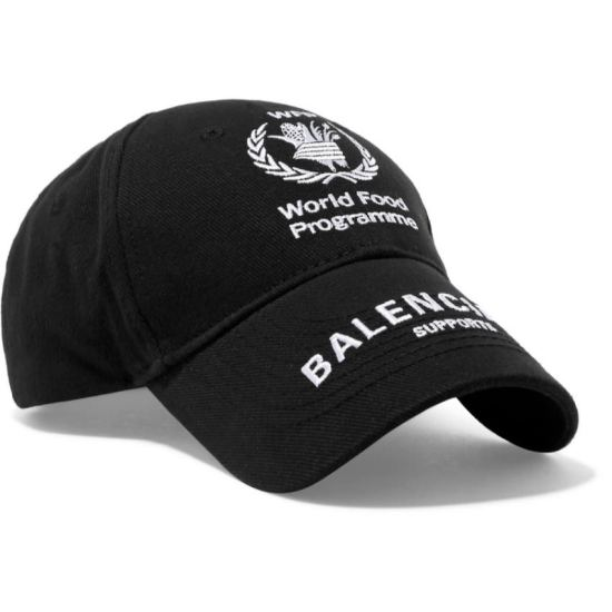 Balenciaga black World Food Programme hat as seen on Rihanna