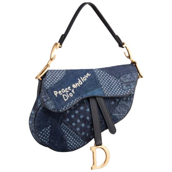 Dior Peace and Love denim patchwork saddle bag as seen on Rihanna
