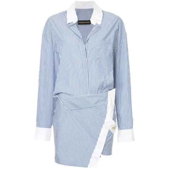 Alexandre Vauthier striped overlap tunic shirt dress as seen on Rihanna