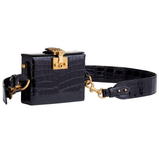 Dior DiorAddict Lockbox black croc handbag as seen on Rihanna