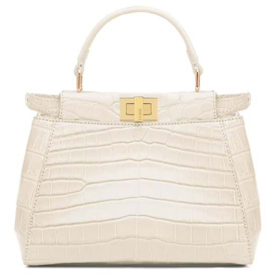 Fendi Peekaboo Mini white croc leather handbag as seen on Rihanna