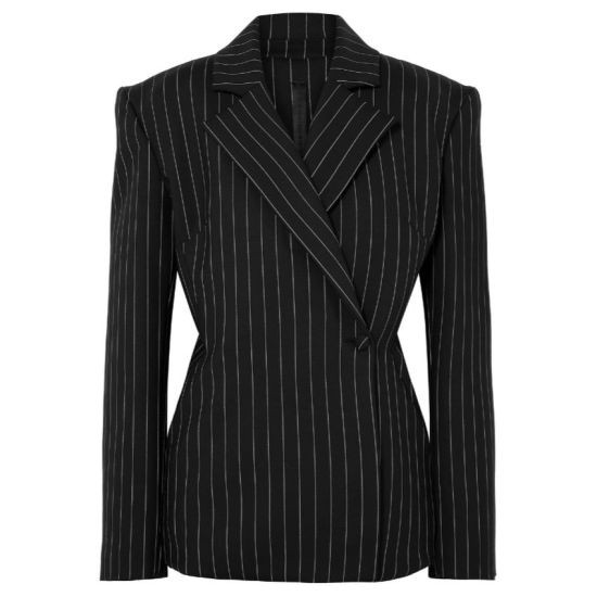 Gareth Pugh black pinstripe blazer as seen on Rihanna
