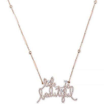 Jacquie Aiche x Mr Brainwash Life is Beautiful necklace as seen on Rihanna