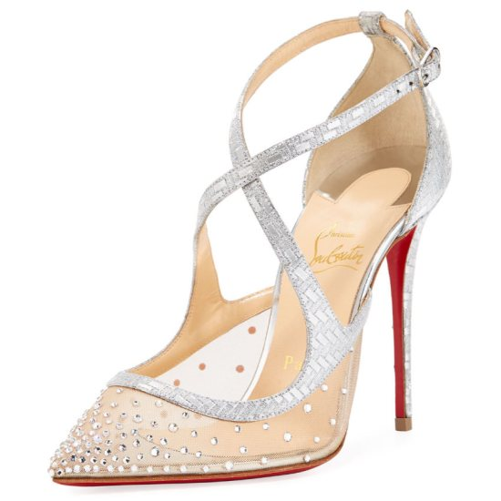 Christian Louboutin Twissima crystal mesh pumps as seen on Rihanna