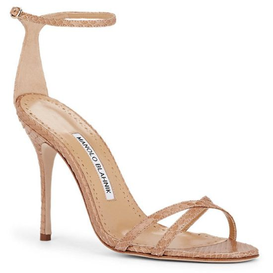Manolo Blahnik Paloma snakeskin sandals as seen on Rihanna
