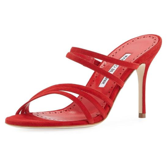 Manolo Blahnik red Andena sandals as seen on Rihanna