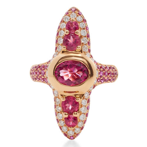 Wendy Yue rubellite and diamond ring as seen on Rihanna