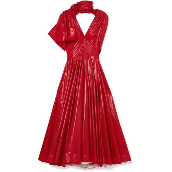 Calvin Klein red vinyl nylon pleated dress as seen on Rihanna