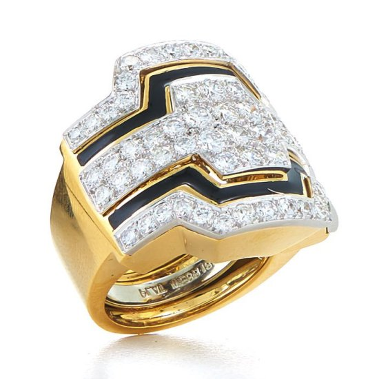 David Webb brilliant cut diamond and black enamel cigar band ring as seen on Rihanna