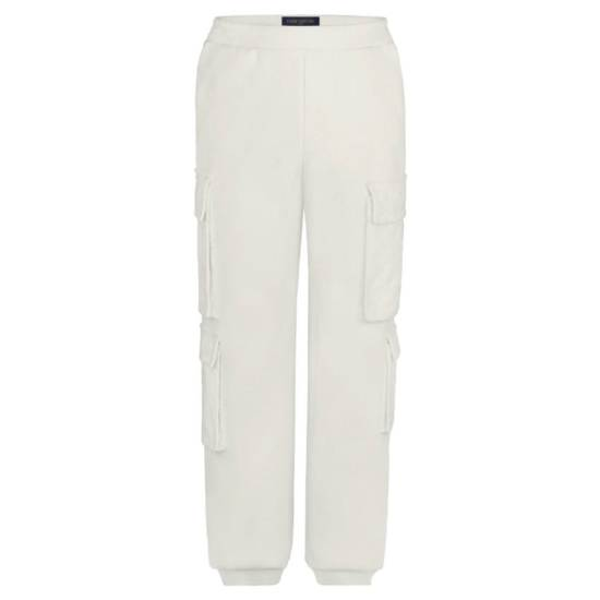 Louis Vuitton white velour cargo pants as seen on Rihanna