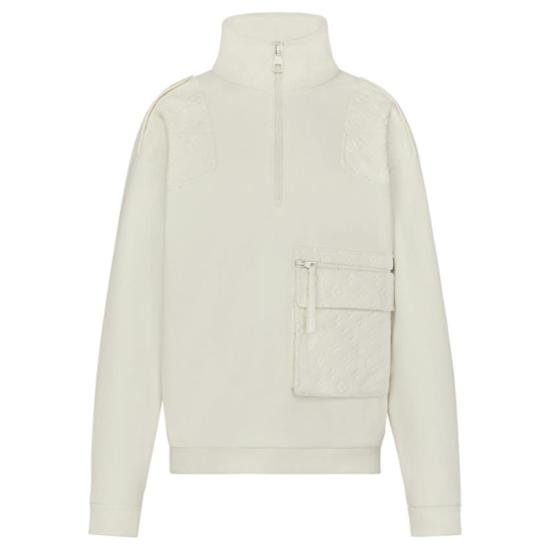 Louis Vuitton white velour multi-pocket half zip sweatshirt as seen on Rihanna