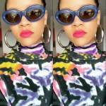 Rihanna Louis Vuitton tie dye t-shirt, Asai Hot Wok tie dye top, Dries Van Noten x Linda Farrow blue oval sunglasses, Jennifer Fisher Mamma Jamma thick hoop earrings