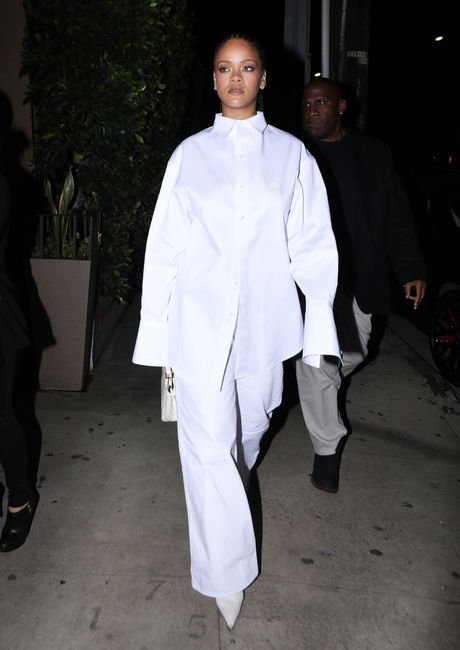 Rihanna Balenciaga white button shirt logo and pointed ankle boots, Fendi Peekaboo Mini handbag in white crocodile