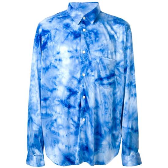 Comme des Garcons blue tie-dye t-shirt as seen on Rihanna