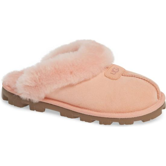 UGG Coquette pink shearling fur slipper as seen on Rihanna