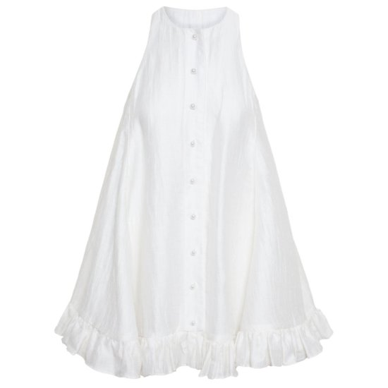 Adam Selman white linen trapeze mini dress as seen on Rihanna