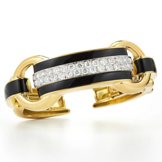David Webb black enamel, gold, platinum and white diamond Bridle cuff as seen on Rihanna