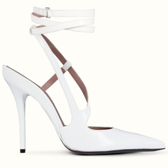 Fenty white Date Night ankle wrap pumps as seen on Rihanna