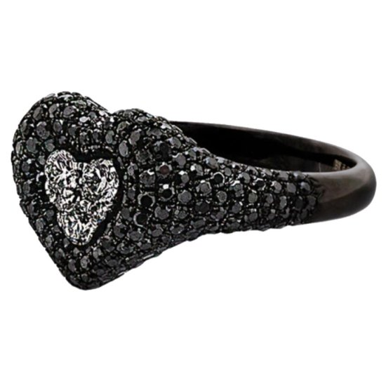 Shay 18k black gold and diamond heart ring as seen on Rihanna
