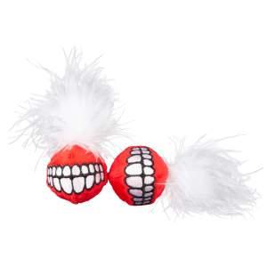 rogz Katzenspielzeug Catnip Grinz Ball rot