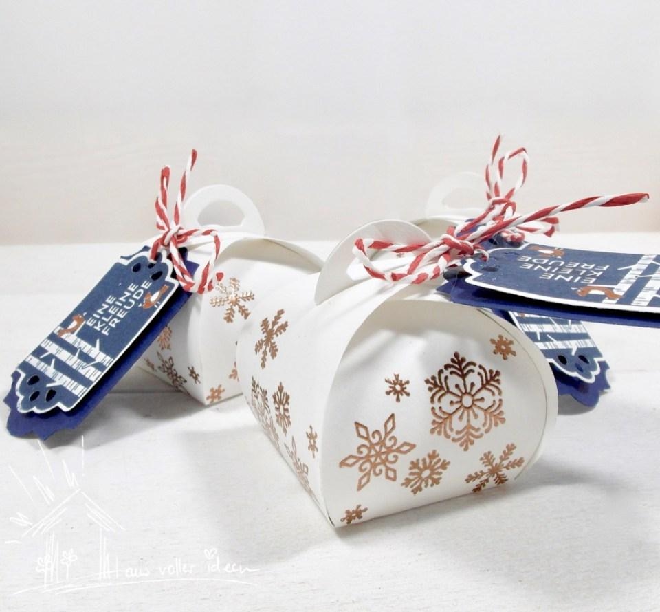 Mini-Zierschachtel in verschiedenen Designs: hier mit tollem Geschenk-Etikett