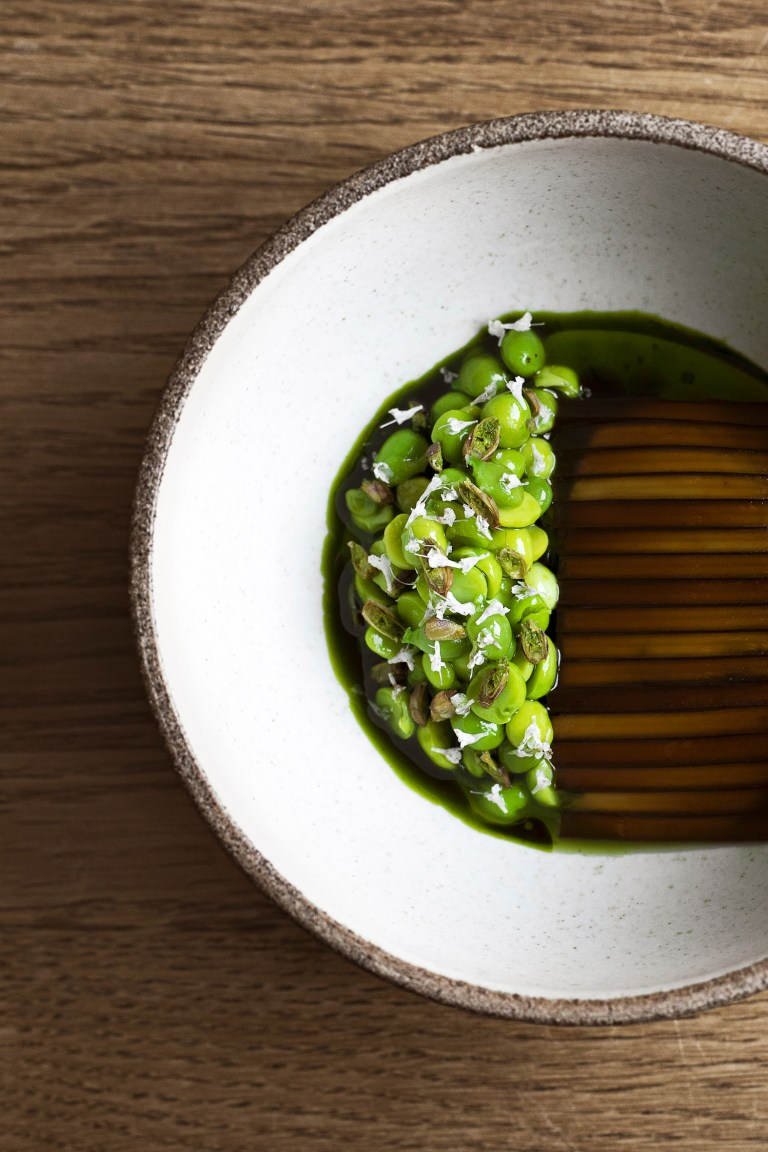 Sweet peas, milk curd and sliced kelp at Noma.Photo: HdG photography.