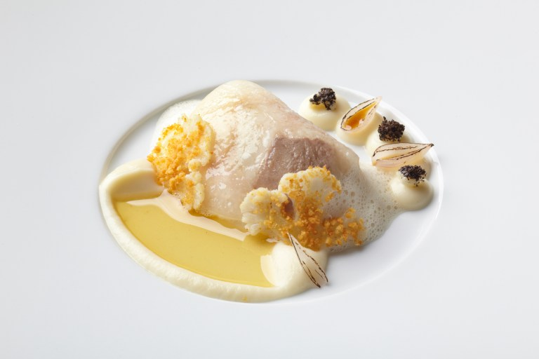 Codfish with melted veal's aspic, Brown butter & cauliflower from autumn menu. Photo: courtesy of Aqua Wolfsburg